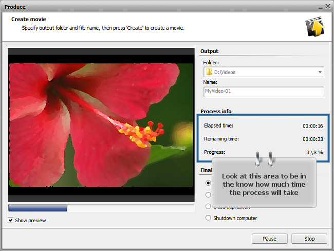 How to save the project and the video in AVS Video Editor? Step 3