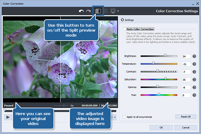 How to correct color in your video using AVS Video Editor? Step 2