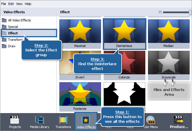 How to remove interlacing artifacts from a video using AVS Video Editor? Step 1