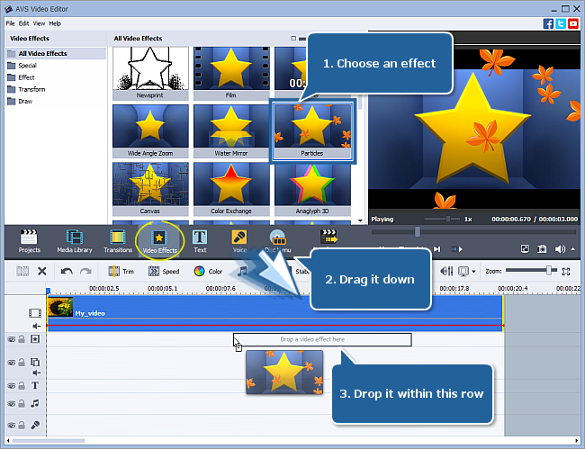 How to apply video effects in AVS Video Editor? Step 1
