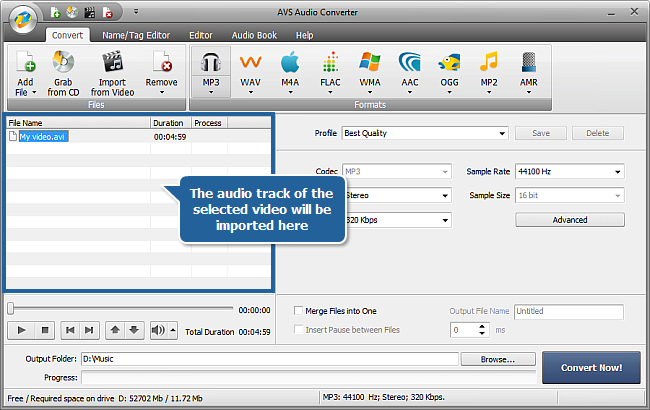 How to extract audio from a video file with AVS Audio Converter? Step 2