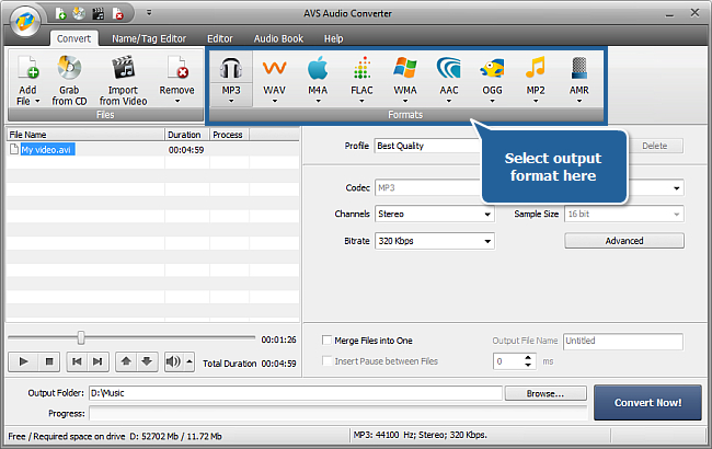 How to extract audio from a video file with AVS Audio Converter? Step 4