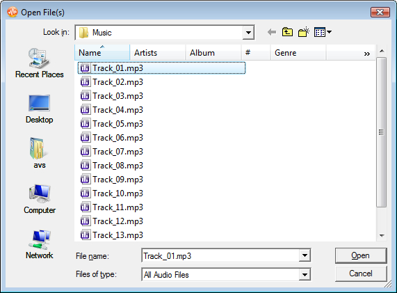 How to merge several audio tracks into one file with AVS Audio Editor? Step 2