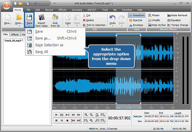 How to use audio effects in an audio file with AVS Audio Editor? Step 5
