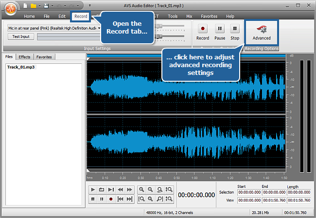 How to record voice over an audio track using AVS Audio Editor? step 3