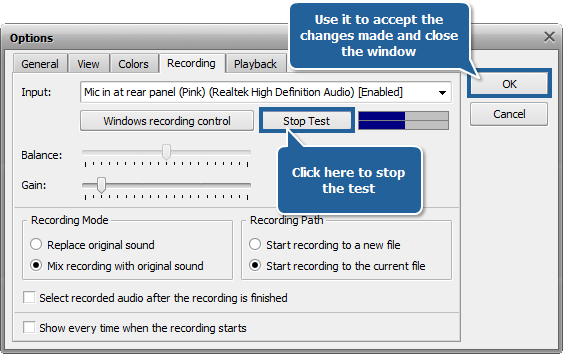 How to record voice over an audio track using AVS Audio Editor? step 4