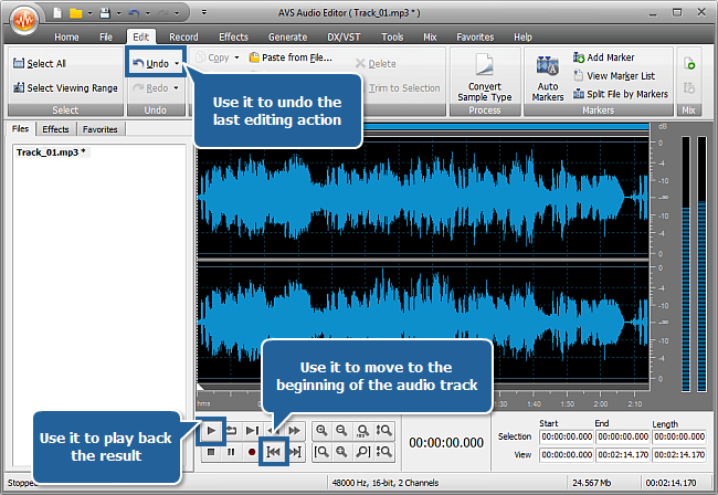 How to record voice over an audio track using AVS Audio Editor? step 5
