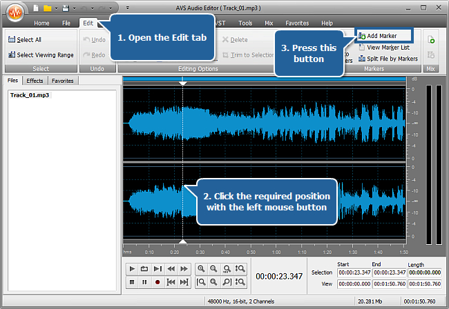 How to split an audio file into separate tracks with AVS Audio Editor? Step 3