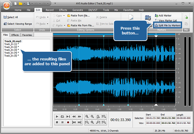 How to split an audio file into separate tracks with AVS Audio Editor? Step 4