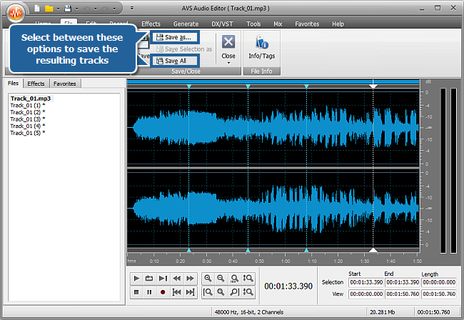 How to split an audio file into separate tracks with AVS Audio Editor? Step 5