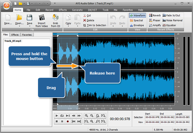 How to increase the sound volume of (a part of) an audio track? Step 3