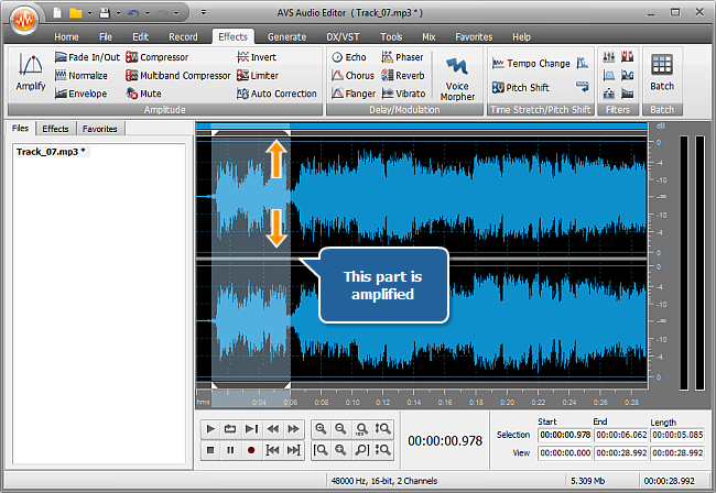 How to increase the sound volume of (a part of) an audio track? Step 4