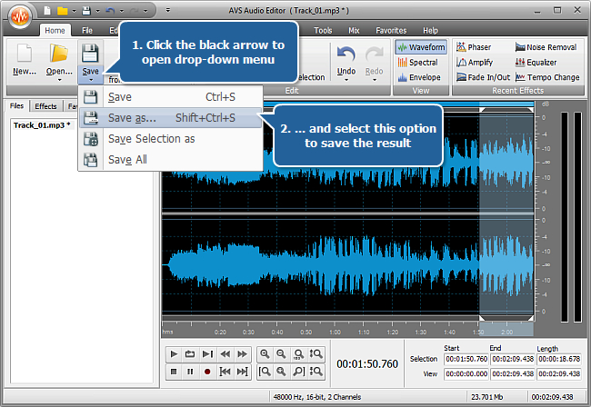 How to make your audio fit the size of a media file with AVS Audio Editor? Step 4