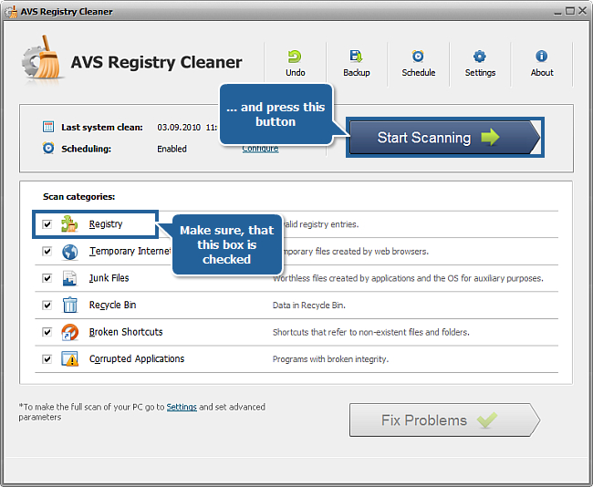 How to clean computer registry with AVS Registry Cleaner? Step 3