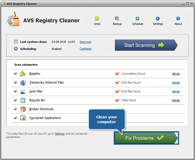 How to clean computer registry with AVS Registry Cleaner? Step 6