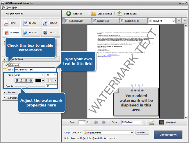 How to add watermark to your documents? Step 4