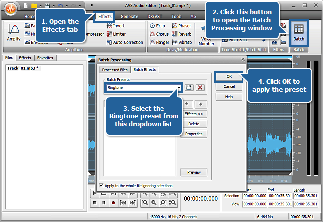 How to create a ringtone with AVS Audio Editor? Step 4