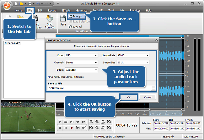 How to mute vuvuzela horns with AVS Audio Editor? Step 5