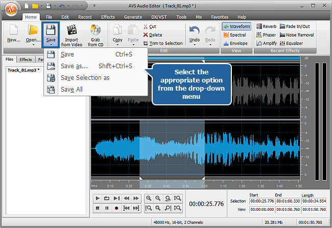How to edit individual channels with AVS Audio Editor? Step 6