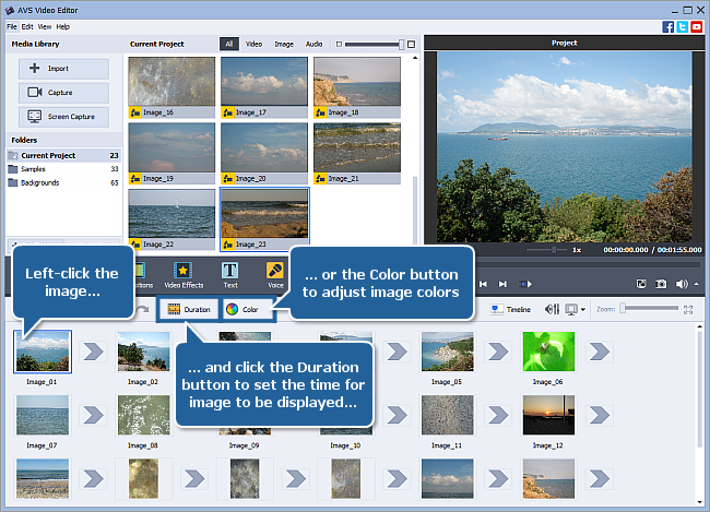 How to create a slideshow using AVS Video Editor? Step 1