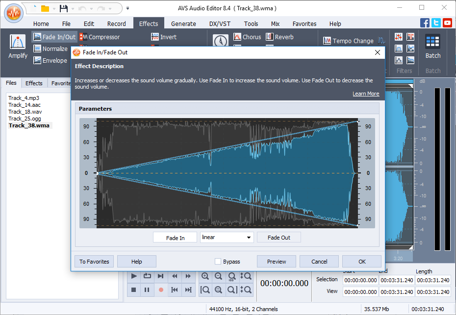 AVS Audio Editor – record audio, cut, mix audio files