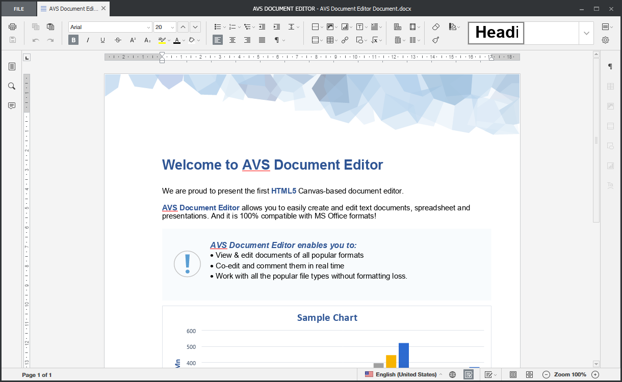 AVS Document Editor – edit and create text documents, spreadsheets