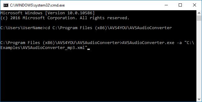 ¿Cómo usar línea de comandos con AVS Audio Converter? Paso 4