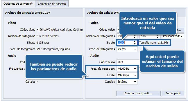 ¿Cómo reducir el tamaño del archivo de entrada con AVS Video Converter? Paso 5