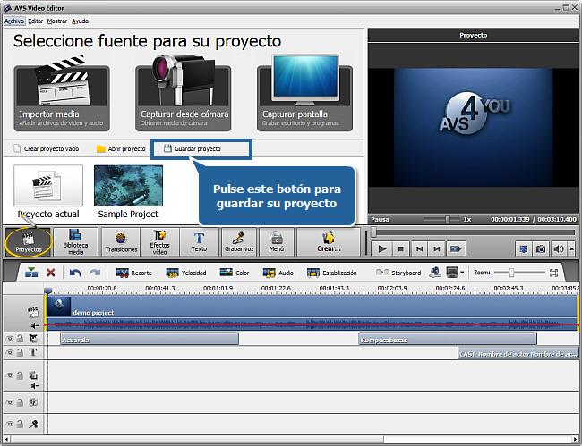 ¿Cómo guardar proyectos y películas en AVS Video Editor? Paso 1