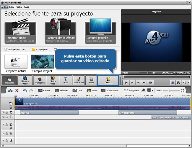 ¿Cómo guardar proyectos y películas en AVS Video Editor? Paso 2