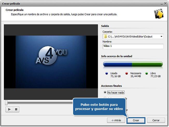 ¿Cómo guardar proyectos y películas en AVS Video Editor? Paso 3