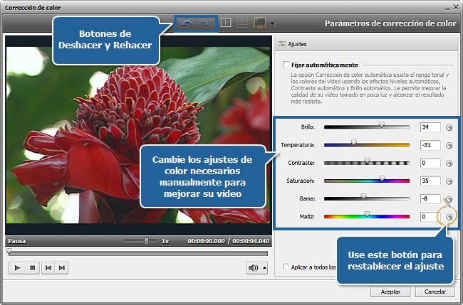 ¿Cómo corregir colores en su vídeo con AVS Video Editor? Paso 2