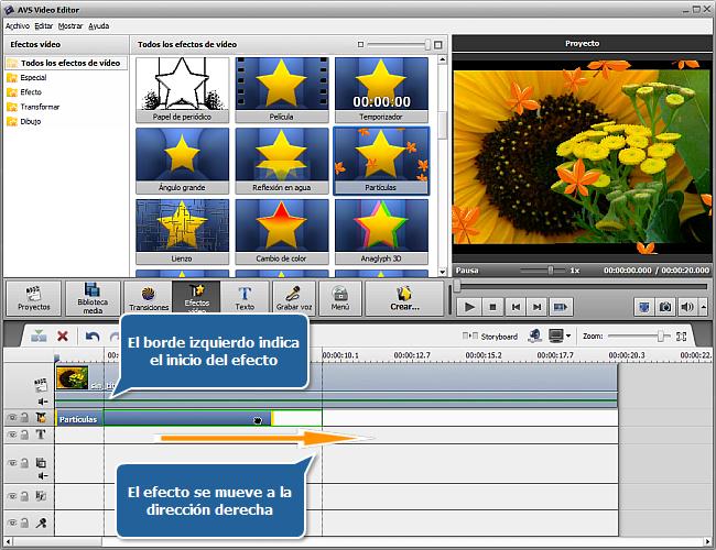 ¿Cómo aplicar efectos de vídeo en AVS Video Editor? Paso 2