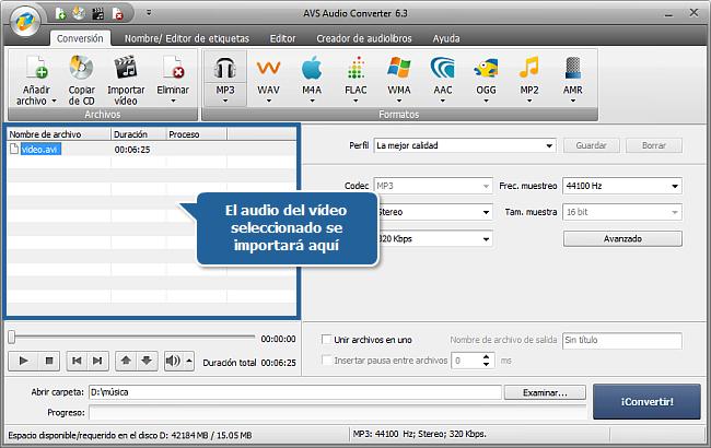 ¿Cómo extraer audio de un archivo de vídeo con AVS Audio Converter? Paso 2