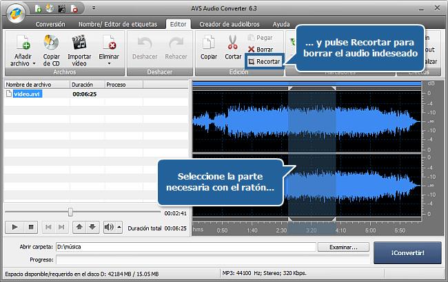 ¿Cómo extraer audio de un archivo de vídeo con AVS Audio Converter? Paso 3