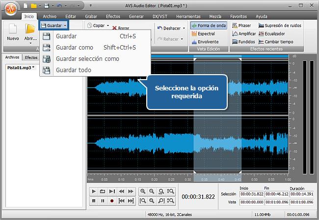 ¿Cómo aplicar efectos de audio en un archivo de audio con AVS Audio Editor? Paso 5
