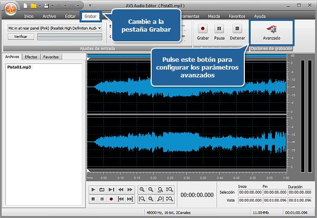 ¿Cómo grabar voz sobre una pista de audio con AVS Audio Editor? Paso 3
