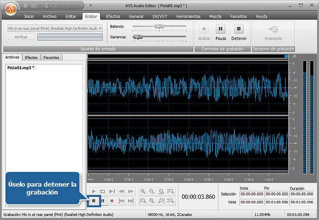 ¿Cómo grabar voz sobre una pista de audio con AVS Audio Editor? Paso 5