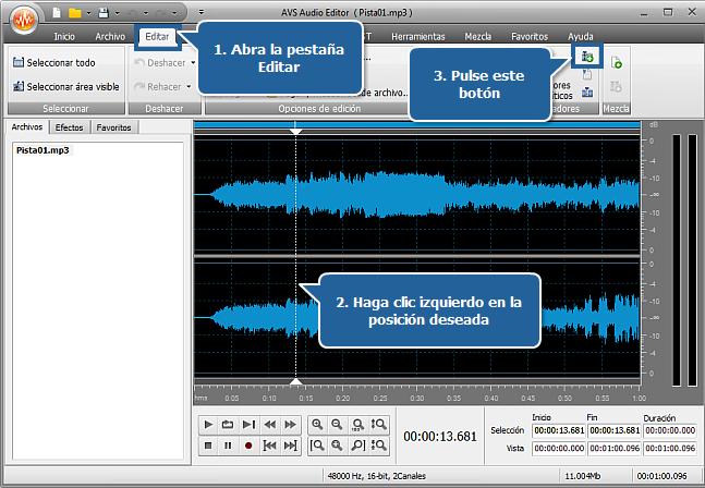 ¿Cómo dividir un archivo de audio en pistas separadas con AVS Audio Editor? Paso 3