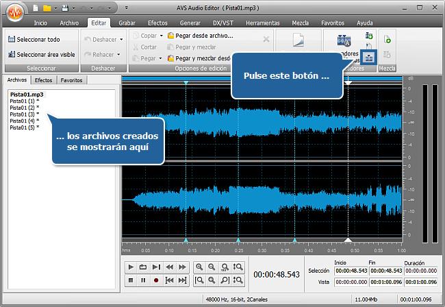 ¿Cómo dividir un archivo de audio en pistas separadas con AVS Audio Editor? Paso 4