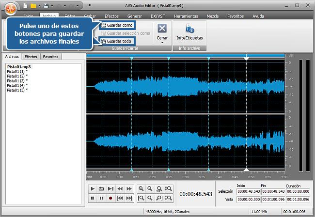 ¿Cómo dividir un archivo de audio en pistas separadas con AVS Audio Editor? Paso 5