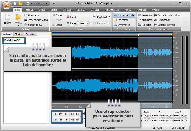 ¿Cómo unir varias pistas de audio en un solo archivo con AVS Audio Editor? Paso 3