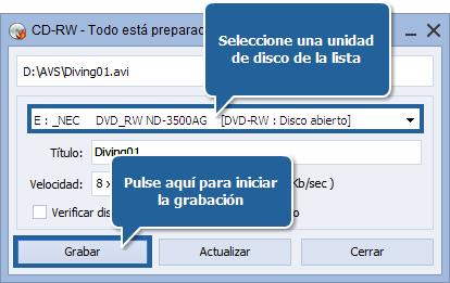 ¿Cómo crear un disco de formato MPEG-4 (DivX o Xvid)? Paso 6