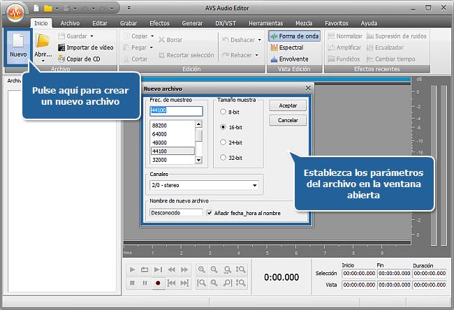 ¿Cómo grabar música con AVS Audio Editor? Paso 2