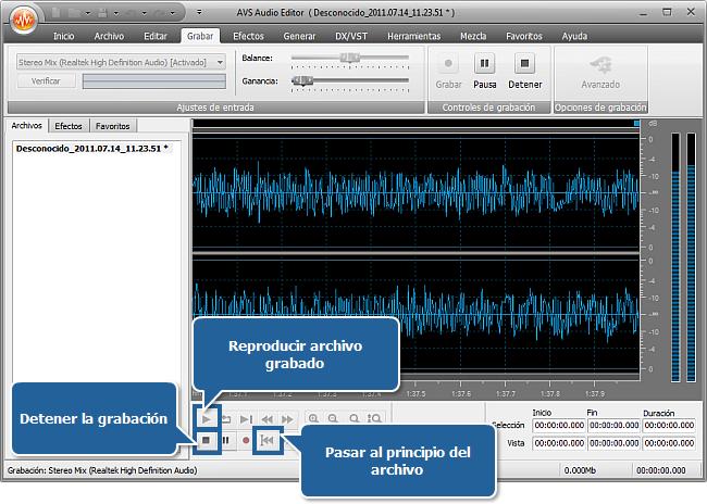 ¿Cómo grabar música con AVS Audio Editor? Paso 5