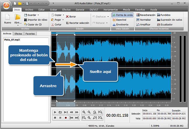 ¿Cómo subir el volumen de (una parte de) la pista de audio? Paso 3