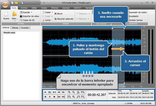 ¿Cómo hacer la duración de una pista coincidir con la de un archivo media usando AVS Audio Editor? Paso 3