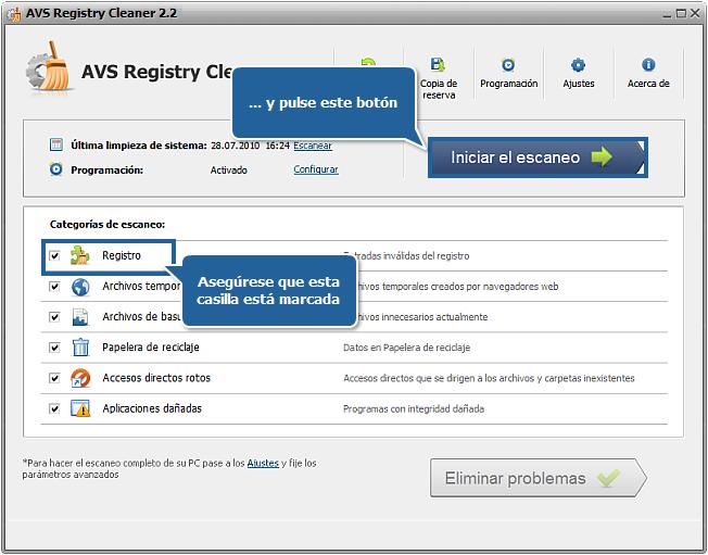 ¿Cómo reparar errores de PC con AVS Registry Cleaner? Paso 3