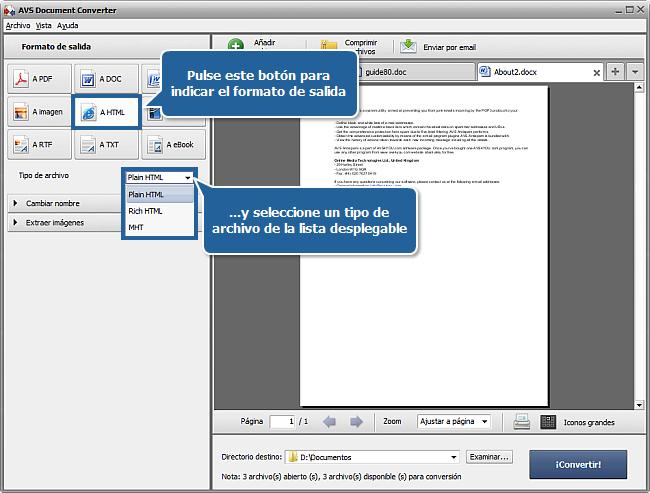 ¿Cómo convertir documentos al formato HTML? Paso 3