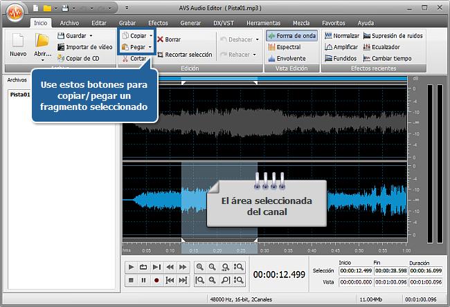 ¿Cómo editar los canales por separado con AVS Audio Editor? Paso 4